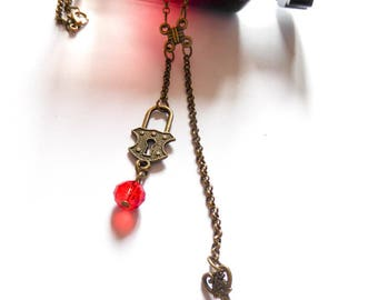Bronze Chinese knot Twilight lock and key necklace