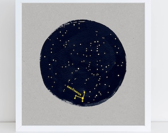 Sagittarius Print, Gift for Sagittarius, Sagittarius birthday, Constellation Birthday, Horoscope Print, constellation wrapping paper