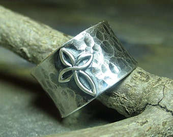 Cross ring sterling silver wide band hammered Christian jewelry - Infinity Cross