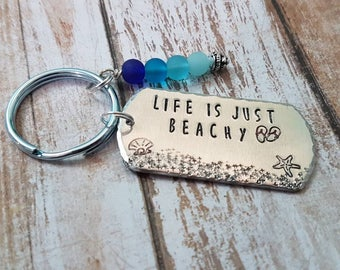 Life is just Beachy hand stamped summer beach keychain with blue sea glass beads