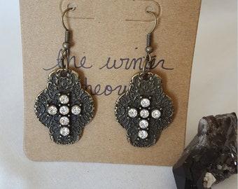 Sparkly Cross Earrings with Bronze Filigree Backing Earrings