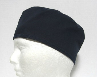 Navy Blue Mens Scrub Hat, Surgical Cap, or Chefs Skull Cap