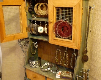 Jewelry Organizing Display (Green and Wood Cabinet)