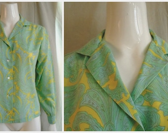 Vintage 1960s Blouse Pastel Paisley Boho Top Blue and Yellow  Large 40 Bust