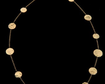 Hammered Coin Necklace, 18k Solid Gold Necklace, Delicate Fine Jewelry,Exclusive Design, Gift For Her,Handmade.Bridal Jewelry,18k Jewelry.