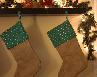 Handmade Teal and Burlap Christmas Stockings
