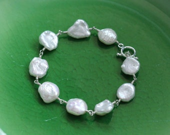 Keshi Keishi Pearl Bracelet - Sterling Silver, Creamy White, Organic Cornflake, June Birthstone, Toggle Clasp