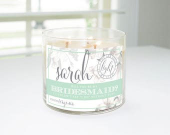 Will You Be My Bridesmaid? Custom Candle Label (Mint, Gray, and Lilies) - Bridesmaid Proposal, Maid of Honor, Matron of Honor