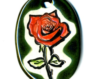 Red Rose Ceramic Necklace in Dark Green