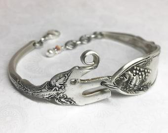 Baby Elephant Fork Bracelet from Antique Cocktail Fork, Silverware Jewelry, Fork Jewelry, Elephant Lover Gift - 'La Vingne' pattern 1908