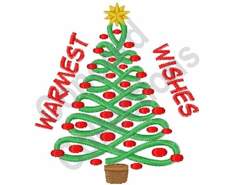 Christmas - Machine Embroidery Design, Christmas Tree, Warmest Wishes