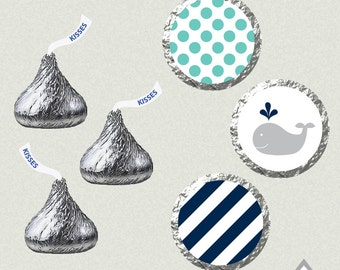 Hershey Kiss Labels, Whale Baby Shower, Baby Boy, Whale Birthday Party, Printable Kiss Labels, DIY Kiss Stickers, Baby Shower Printables