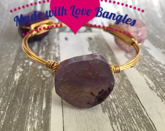 Three Stone Wire Wrapped Bangle Bracelet. Purple Dragon Vein  Agate Stone Gemstone Bangle *Bourbon and Boweties Inspired* Stackable Bangle