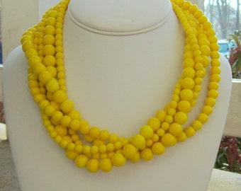 Yellow Necklace, Yellow Jewelry, Chunky Yellow Necklace, Yellow Statement Necklace, Gifts for Her, Lemon Yellow Bridesmaids, Chunky Ducky