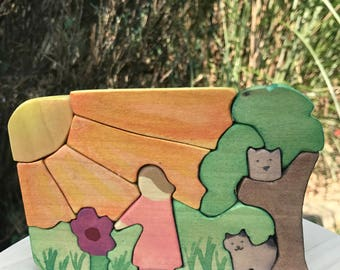 Landscape Puzzle Play Set, Waldorf Wood Toy, Girl with Flower, Montessori Materials, Travel Toy, Small Puzzle, Wood Puzzle
