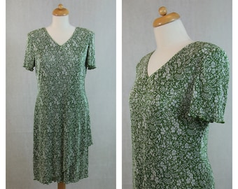 80s 90s vintage dress olive green and white floral print. Summer dress. L Size.