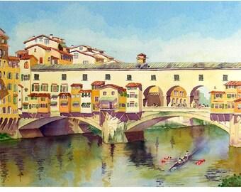 Florence Italy, Boat Art, Italian bridge, Travel print, Landscape painting, Ponte Vecchio, Archival, River landscape, Sale, Italian bridge