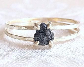 Solid Gold Rough Diamond Engagement Ring - Raw Diamond Ring - Diamond Wedding Band - Blue Dimond Ring - Pink Diamond - Black Diamond Ring