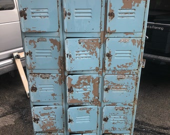 Vintage Blue Lockers 15 doors 15d36w72h Shipping is not free