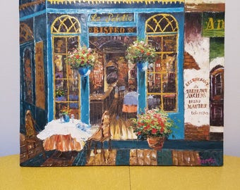 French Bistro Oil Painting