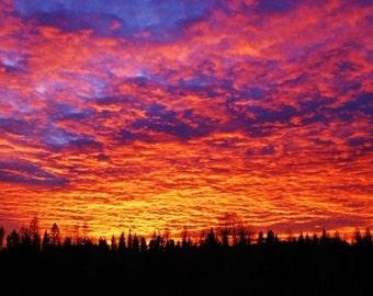 Montana Sunset, Evening Light, Rainbow of Colors, Photograph or Greeting card