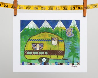 "Vintage Camper Outdoor Art Print 8x10 ""Come Away with Me"""
