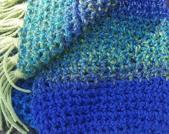 Jewels of the Sea Knit Scarf with Fringe