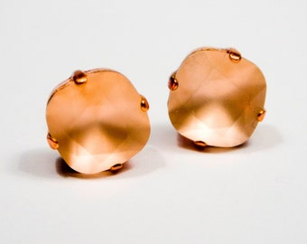 Frosted Peach Crystal Stud Earrings Classic Sparkling Matte Matt Pink Apricot Warm Copper Solitaire Swarovski 12mm 10mm Sterling Silver Post