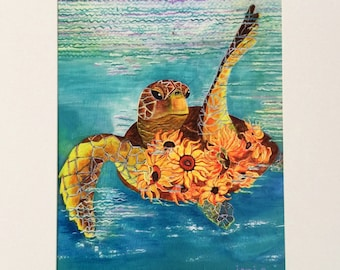 8x10 Sea turtle with sunflowers giclee print matted - of original acrylic painting