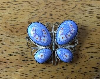 Blue Enamel Cannetille Butterfly Brooch