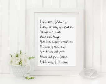 Edelweiss Hand Lettered Art Print, 8 x 10 Calligraphy Print, Hand Lettered Calligraphy Print