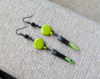 black and chartreuse dagger earrings, very long earrings, dagger earrings, spike earrings, lime and black earrings, Halloween spike earrings
