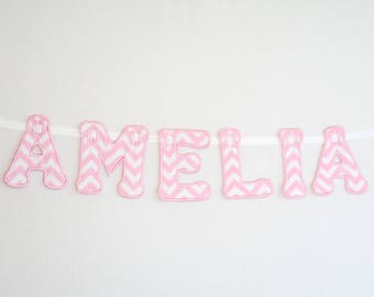 Personalised Name Zigzag Bunting Pink