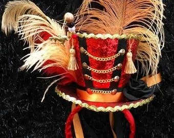 Circus Lion Tamer Mini Top Hat Ring Leader Ring Master Burlesque Showgirl