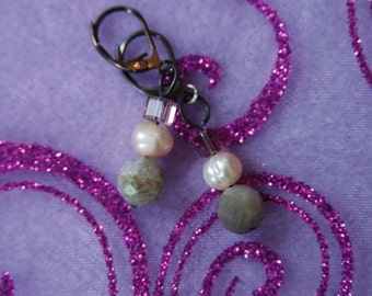 Ocean Jasper and Freshwater Pearl Earrings