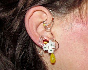 Fire Whispers Ear wrap, elegant earrings with Swarovski crystals, fire ear cuff, bridal earrings, no piercing earrings, Wedding jewelry