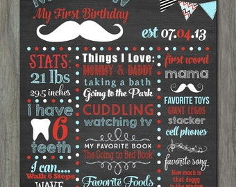 First Birthday Chalkboard Poster, First Birthday Milestone Chalkboard, Printable Chalkboard Poster, Little Man Chalkboard Poster, Mustache