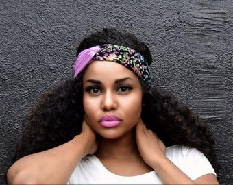 Purple and Mult-color Turban Headband