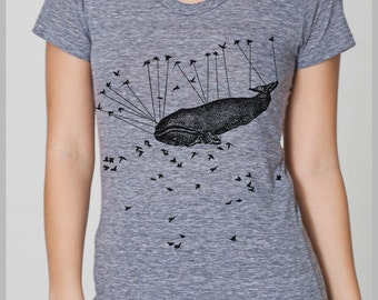 Aviation Whale Birds - Women's T Shirt - Large - American Apparel Save the Whales T-shirt for women Athletic Grey Tri Blend Tee