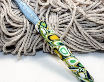 Polymer clay covered crochet hook,  Boye new size K/10-1/2 or 6.50mm, handmade design, ready to ship