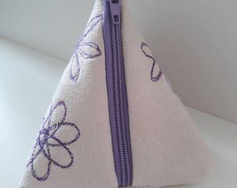 Spirograph fabric coin purse, handmade pyramid pouch