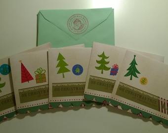 Handmade Christmas Cards (Set of 5)- Oh Christmas Tree