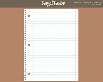 White Ruled Notepaper Digital Download, Blue Lined Paper Clip Art, Back to School Clipart, - Instant Download