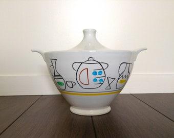 Tureen deco Digoin Sarreguemines France ceramic vintage pottery kitchen retro vintage