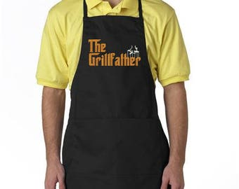 Personalized Men's Apron, The Grillfather, Custom BBQ Apron