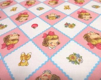 SALE Japanese Fabric Pretty Little Girl Trellis  Fat Quarter