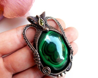 malachite pendant, wire wrapped jewelry, silver wrap, wire weave, wire wrap, handmade pendant, wire wrapping, peridot, Melissa Wood Jewelry