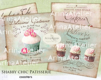 Shabby Chic Patisserie Coaster - 4 x 4 inch - set of 4 cards - Digital Download Sheet - Digital tags - Digital printable - Collage sheet