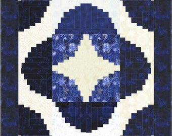 Curvy Log CabinQuilt ePattern, 5084-1, pieced lap Quilt, log cabin quilt pattern