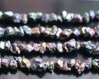 "15"" one strand,Raw Iron pyrite, Titanium Rainbow, Rough Cut Nugget Beads, Nugget Beads, Rough Beads,5-6mm"